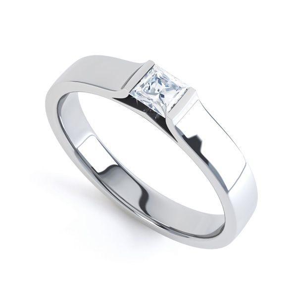 Tension Set Princess Diamond Solitaire Ring Main Image