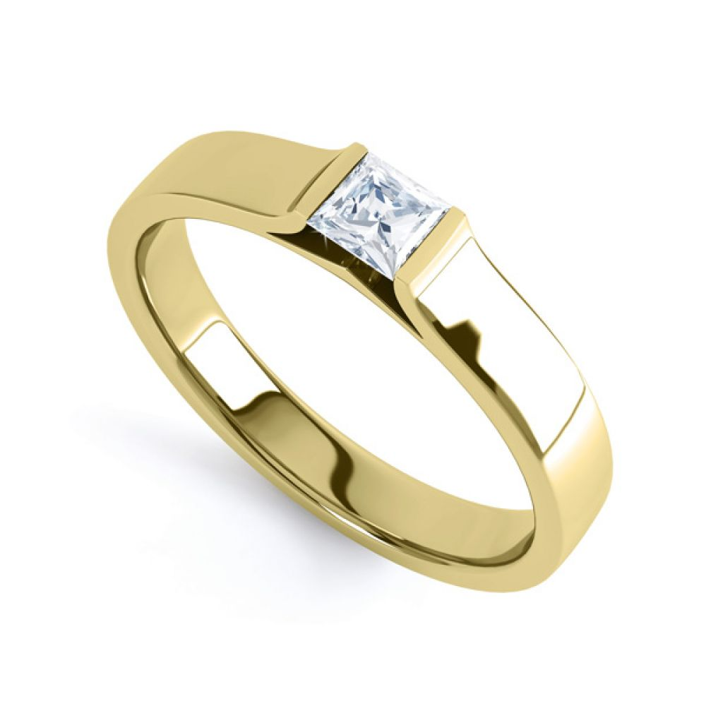 Tension Set Princess Diamond Solitaire Ring In Yellow Gold
