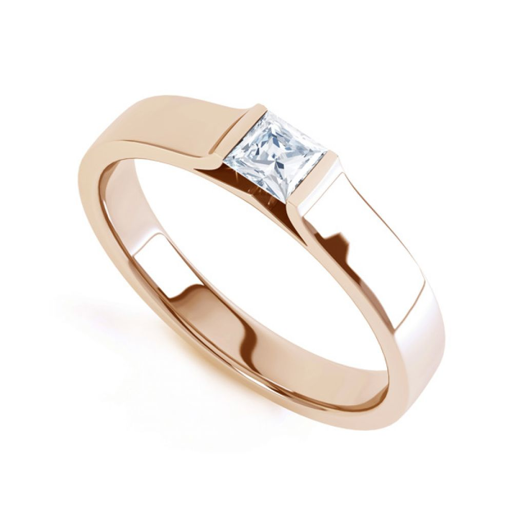 Tension Set Princess Diamond Solitaire Ring In Rose Gold