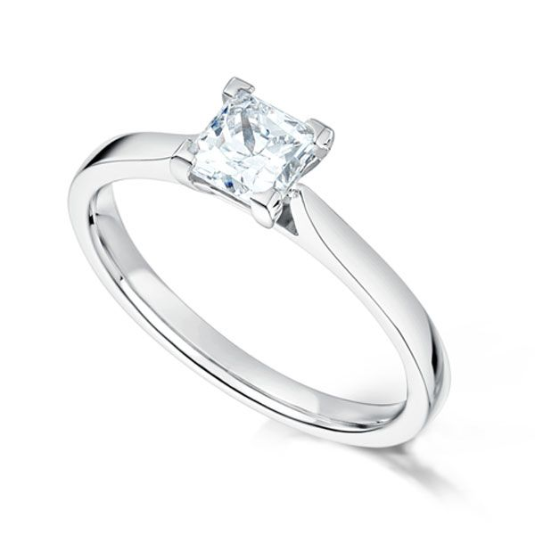 Low Set Solitaire Princess Diamond Engagement Ring Main Image