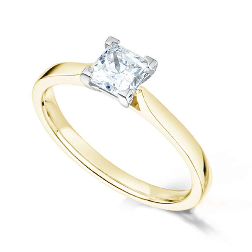 Low Set Princess Cut Diamond Engagement Ring In Yellow Gold