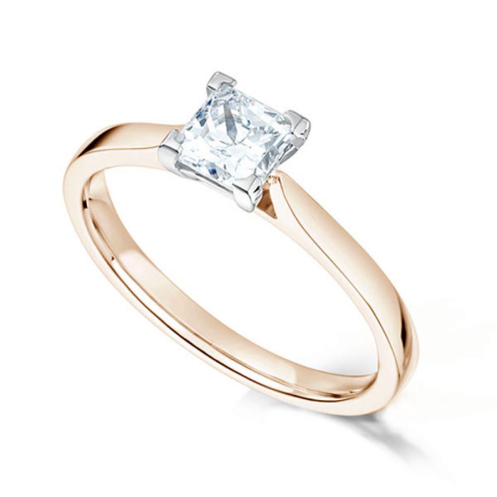 Low Set Princess Cut Diamond Engagement Ring Rose Gold