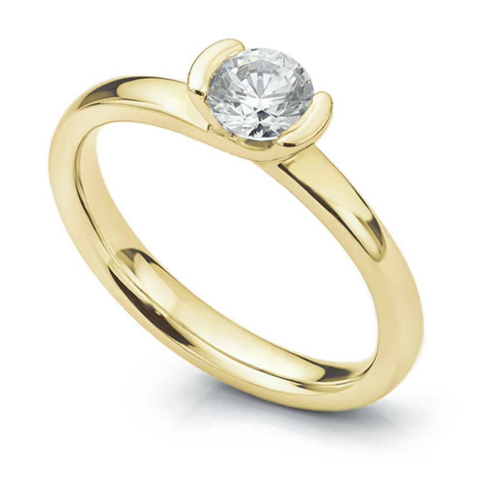 Semi-bezel set engagement ring Annabelle in yellow gold perspective view