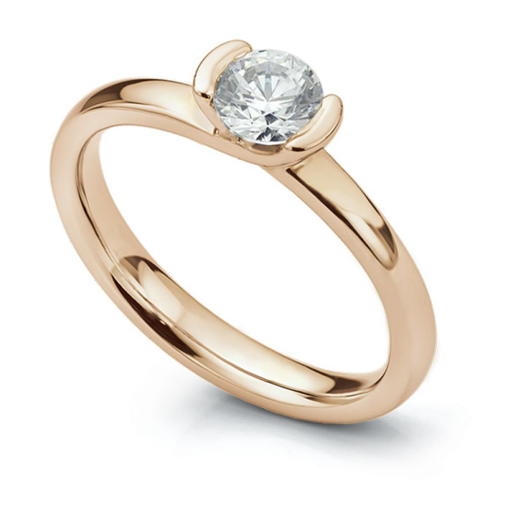 Semi-bezel set engagement ring Annabelle in rose gold perspective view