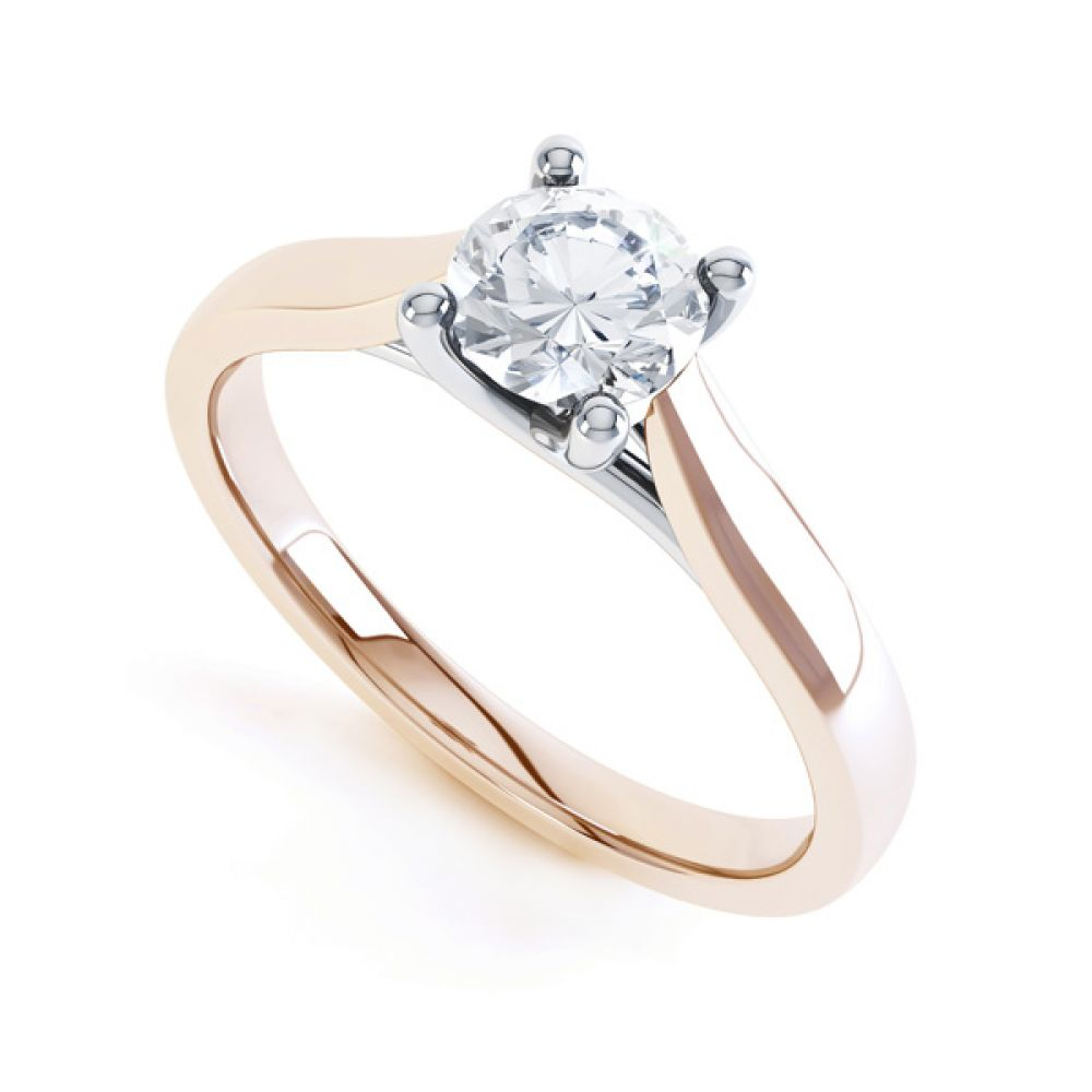 Wedfit Lucida Style Round Solitaire Engagement Ring In Rose Gold