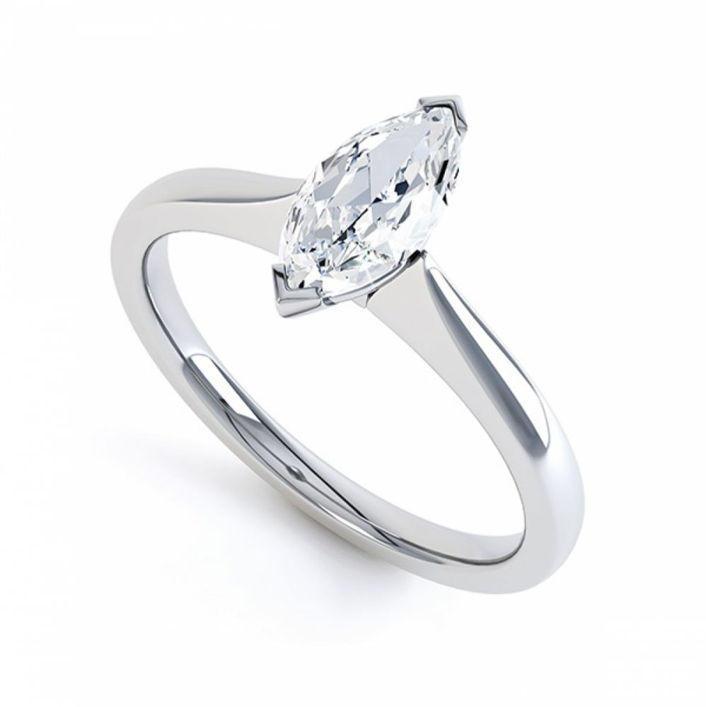Simple Marquise Solitaire Engagement Ring Perspective View Platinum