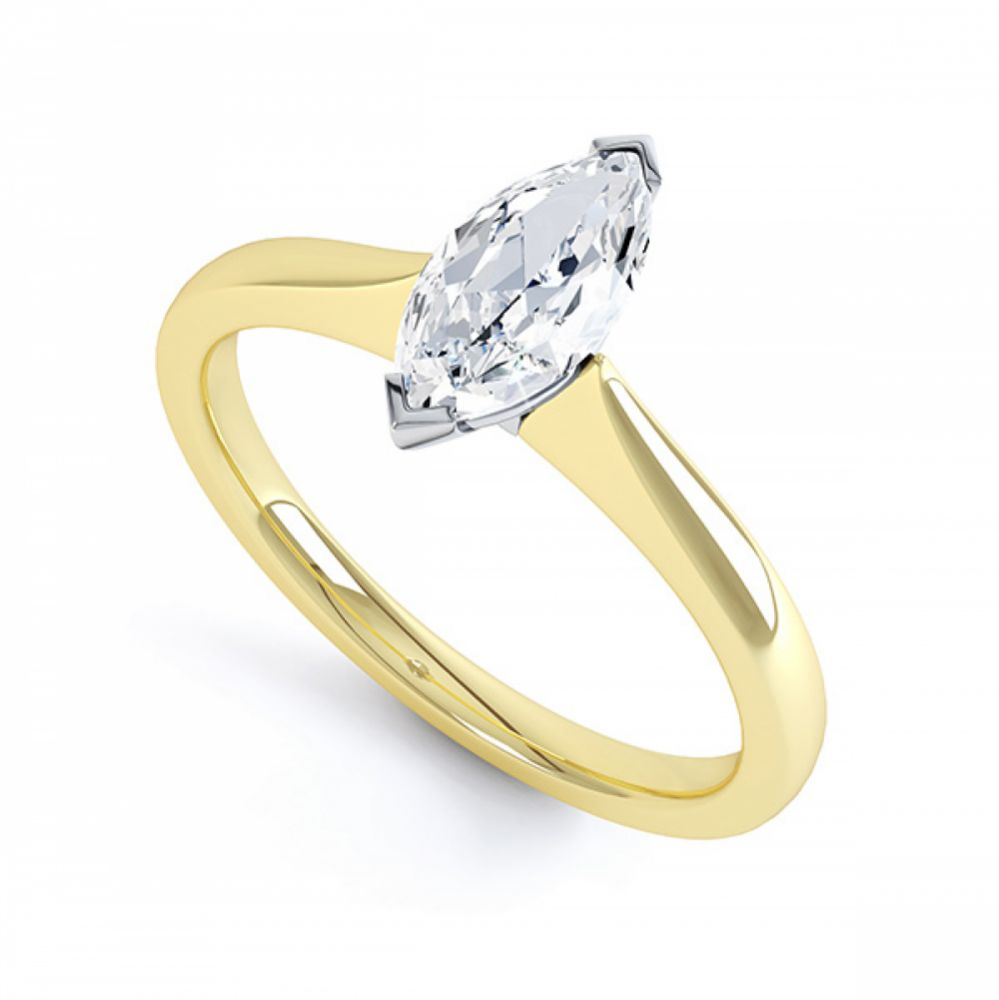 Simple Marquise Solitaire Engagement Ring Perspective View Yellow Gold