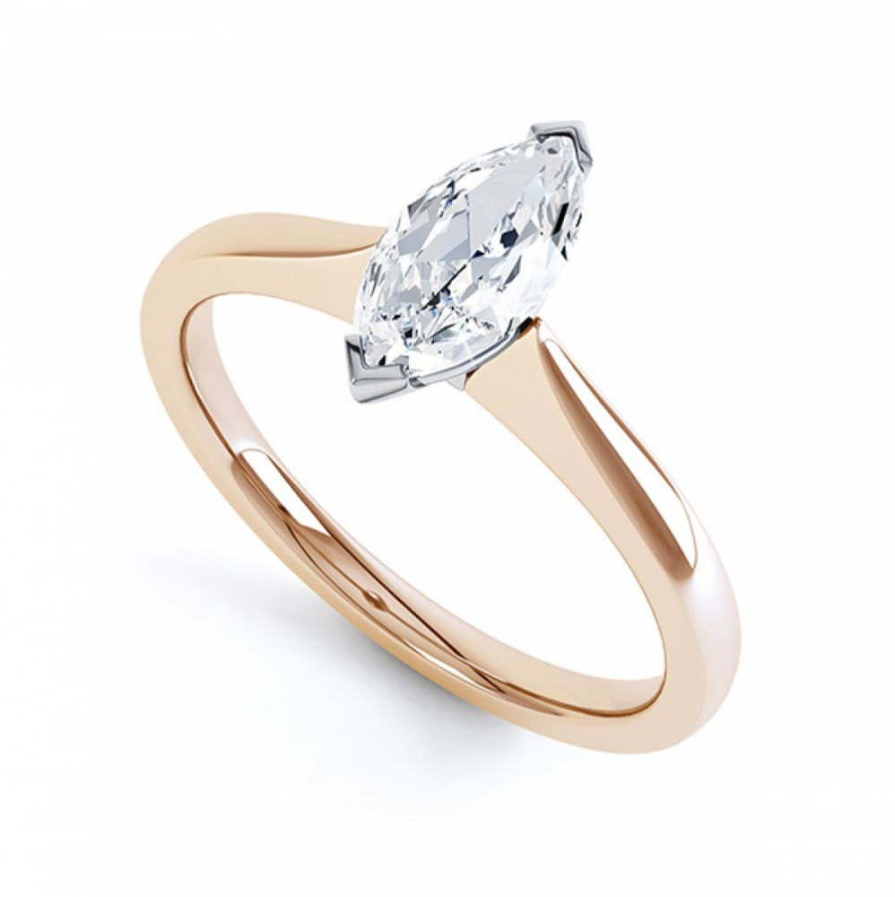 Simple Marquise Solitaire Engagement Ring Perspective View Rose Gold