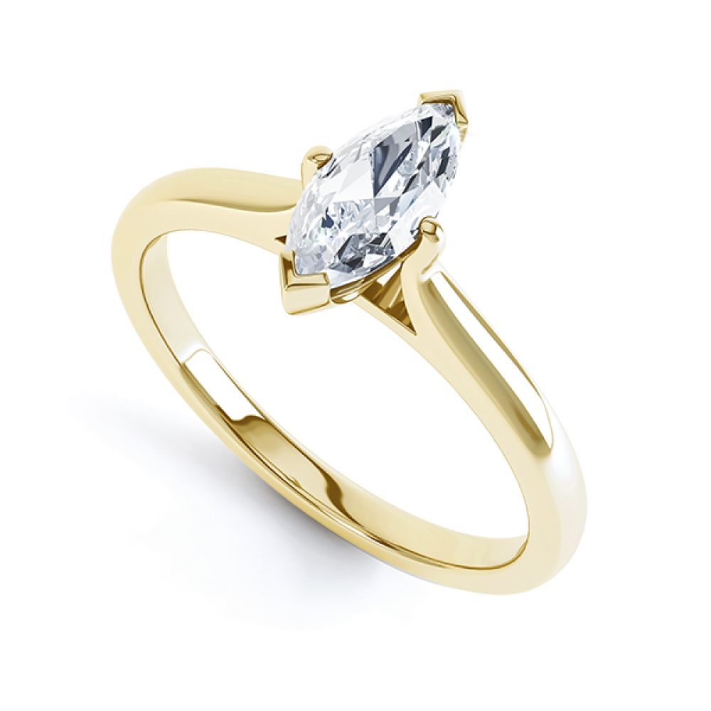 4 Claw Marquise Solitaire Engagement Ring Side View
