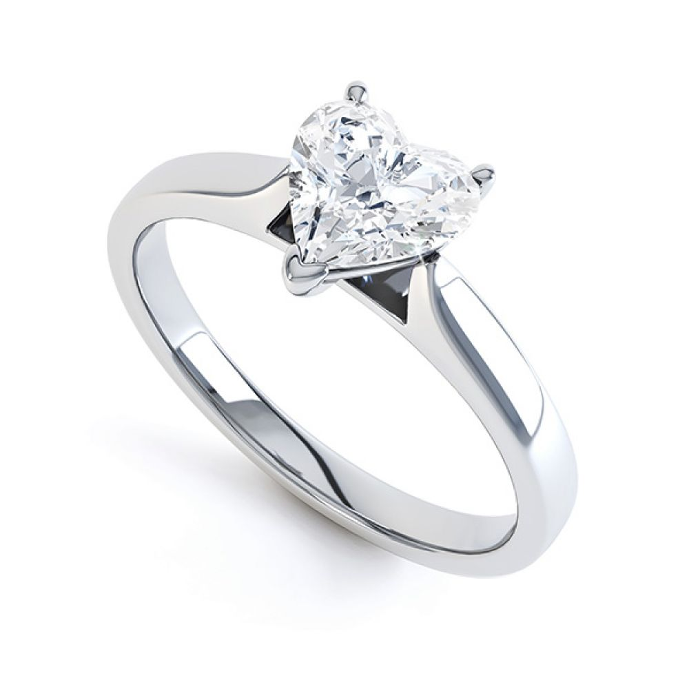 Heart Shaped Engagement Ring 3 Claw Setting White Gold