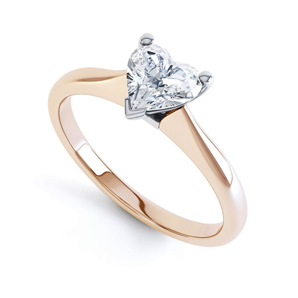 Aphrodite Heart Shaped Diamond Solitaire Engagement Ring Rose gold Perspective View