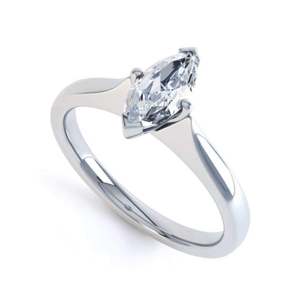 Marquise 4 Claw Diamond Solitaire Engagement Ring
