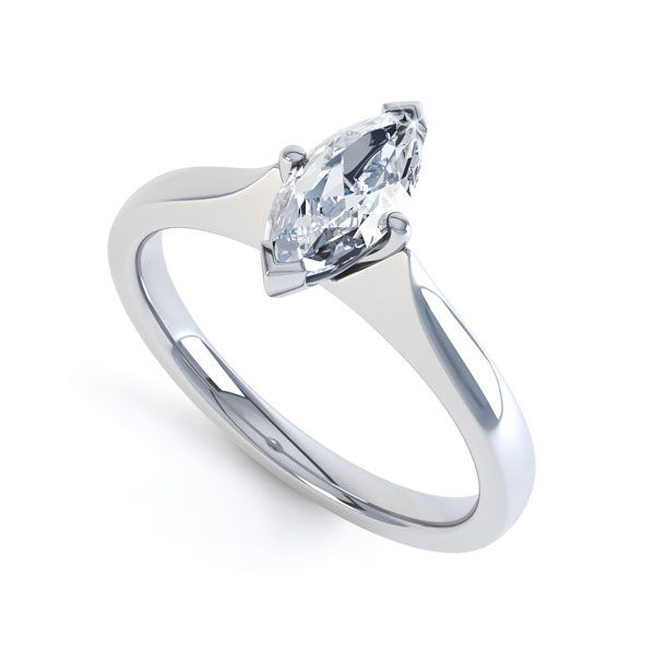 Marquise 4 Claw Diamond Solitaire Engagement Ring Main Image