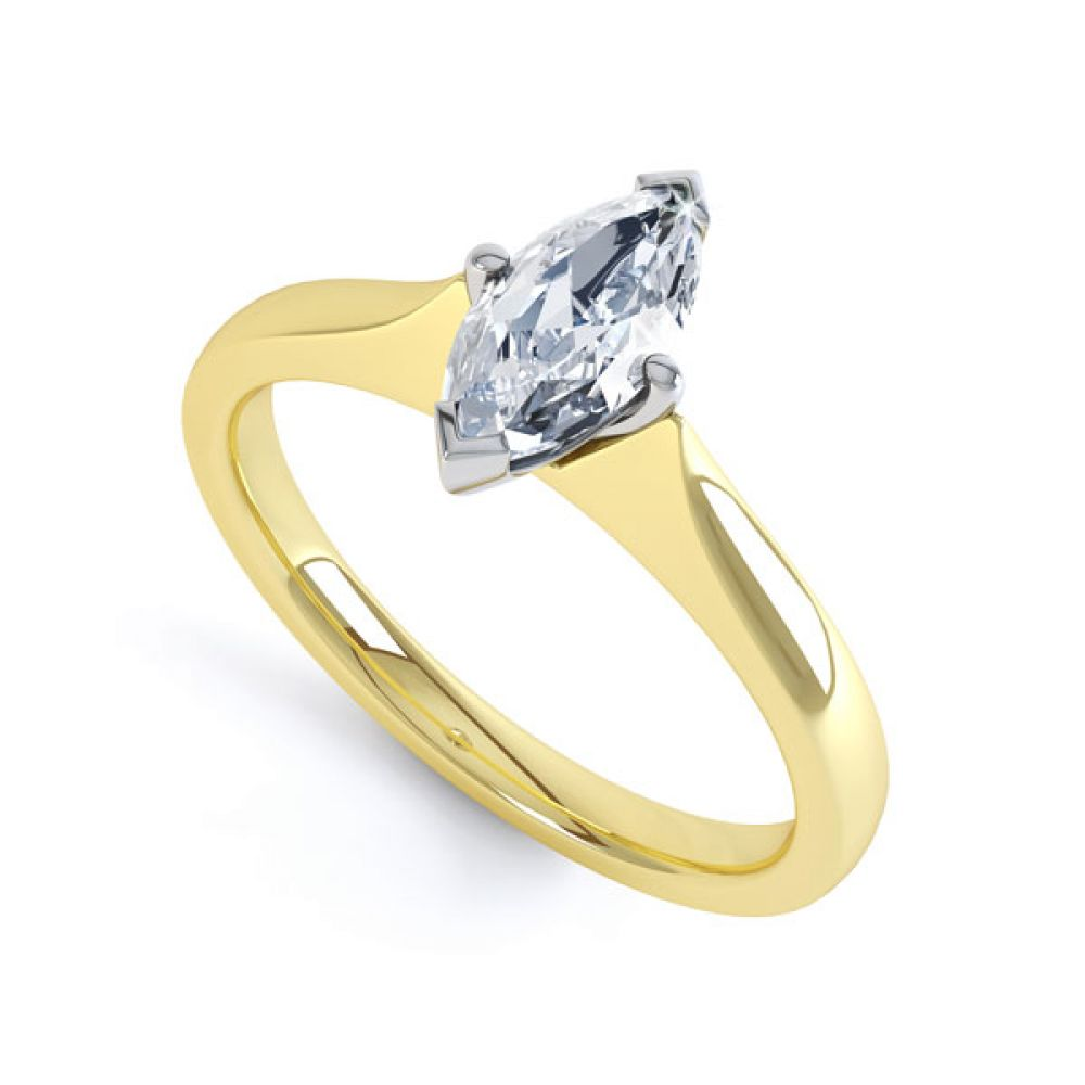 Marquise 4 Claw Diamond Solitaire Engagement Ring In Yellow Gold