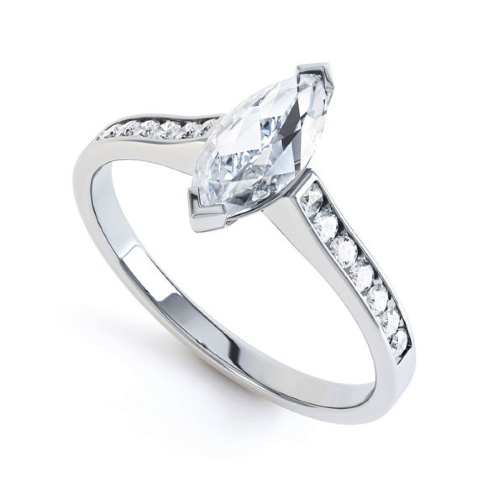 Marquise Engagement Ring with Diamond Shoulders