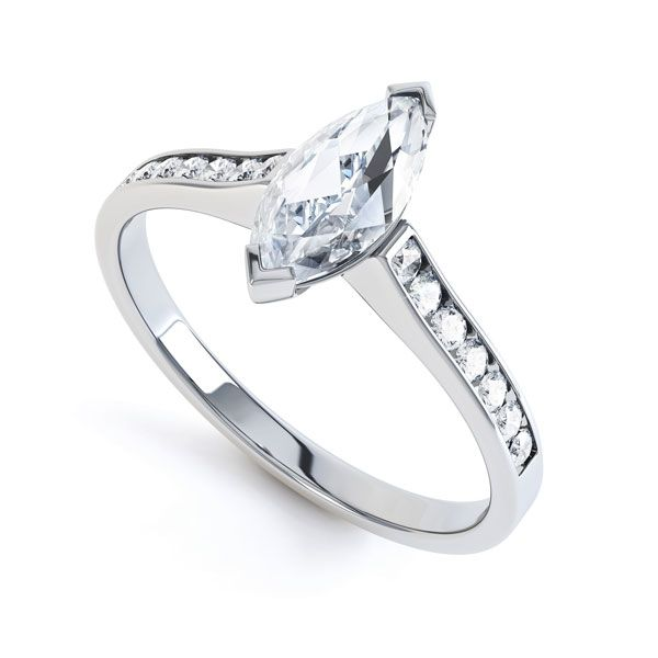 Marquise Engagement Ring with Diamond Shoulders Main Image