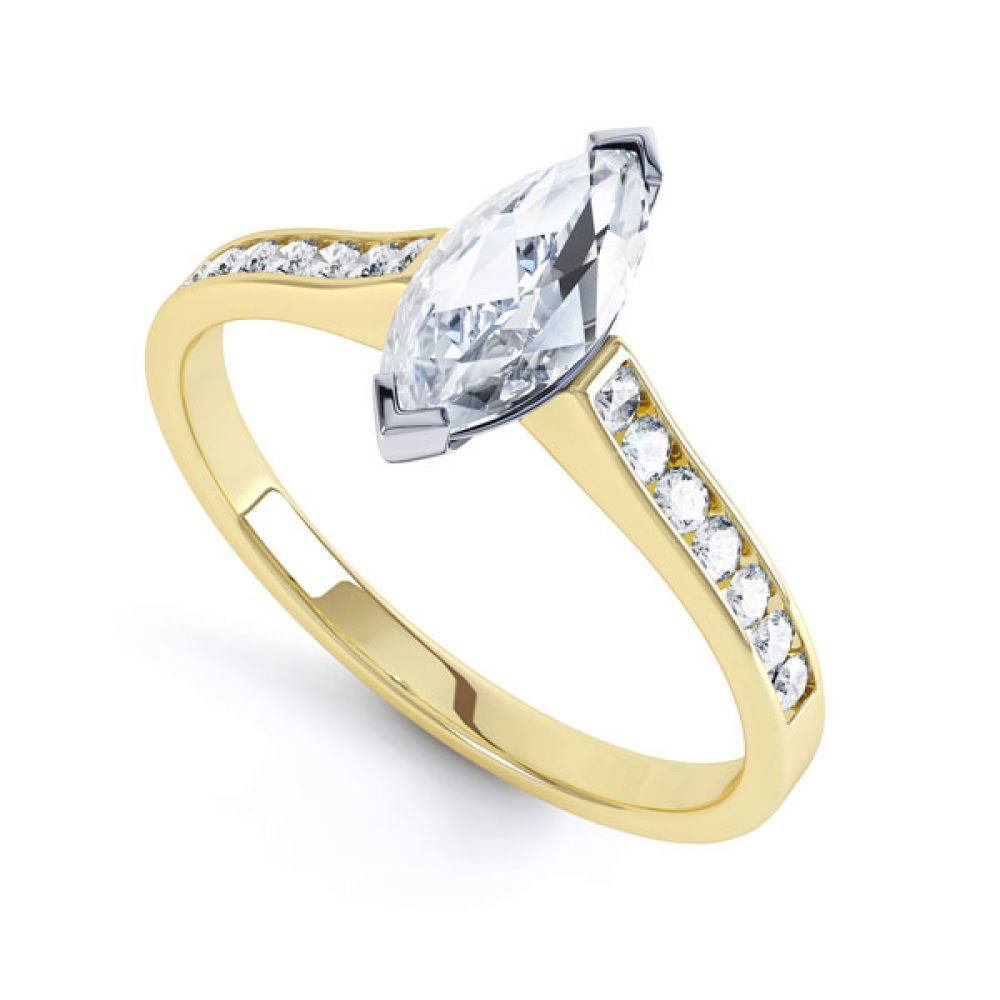 Marquise Engagement Ring with Diamond Shoulders In Yellow Gold