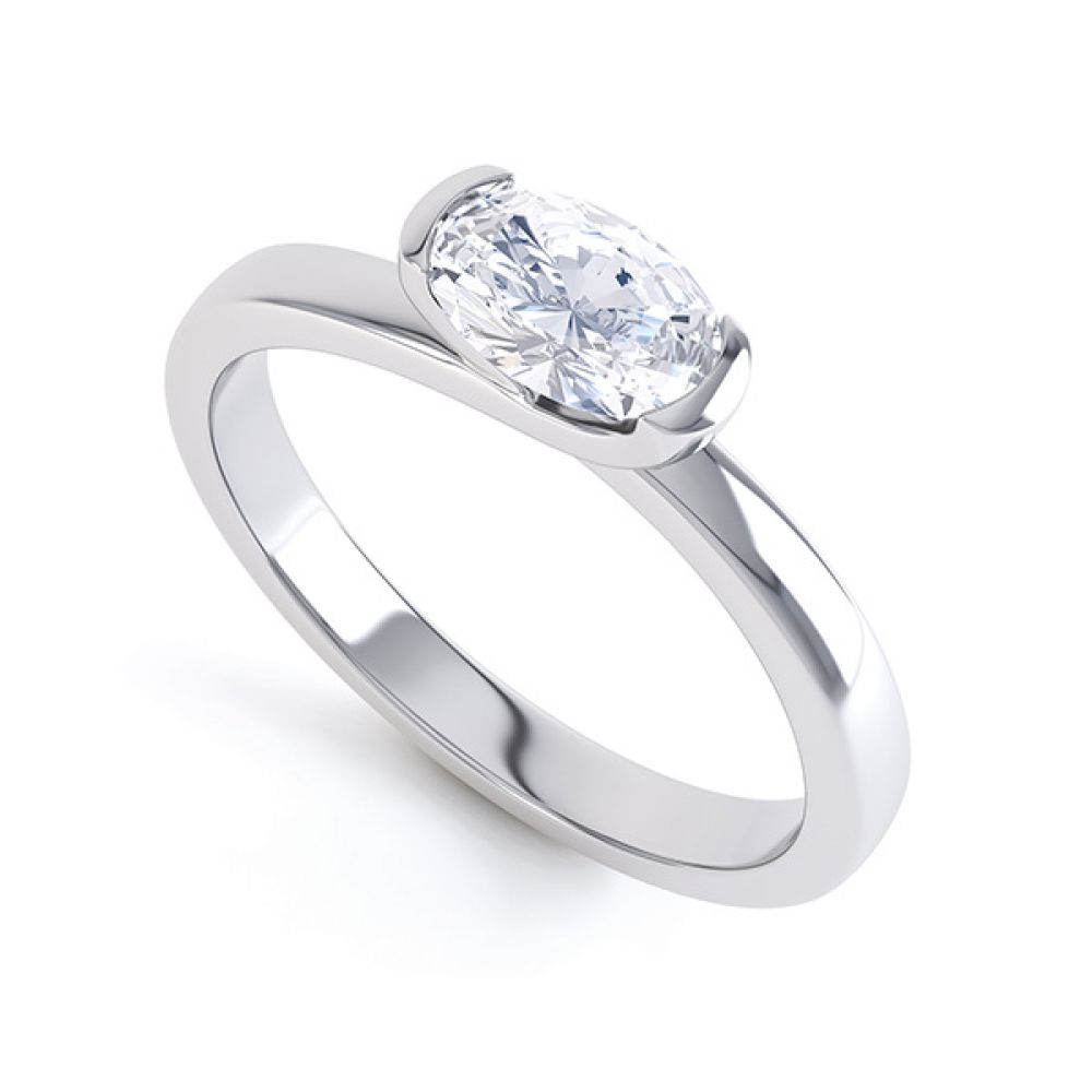 Sideways Oval Engagement Ring Crossover Shoulders
