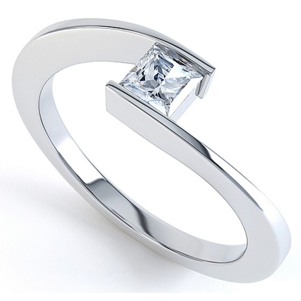 Crossover Princess Diamond Solitaire Ring