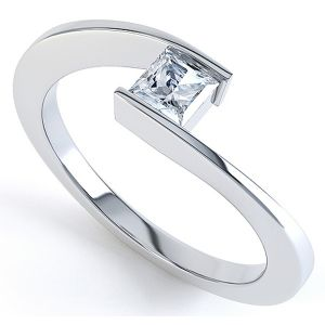 Crossover Princess Diamond Solitaire Ring Main Image