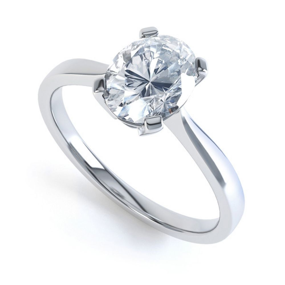 4 Claw Oval Solitaire Diamond Engagement Ring