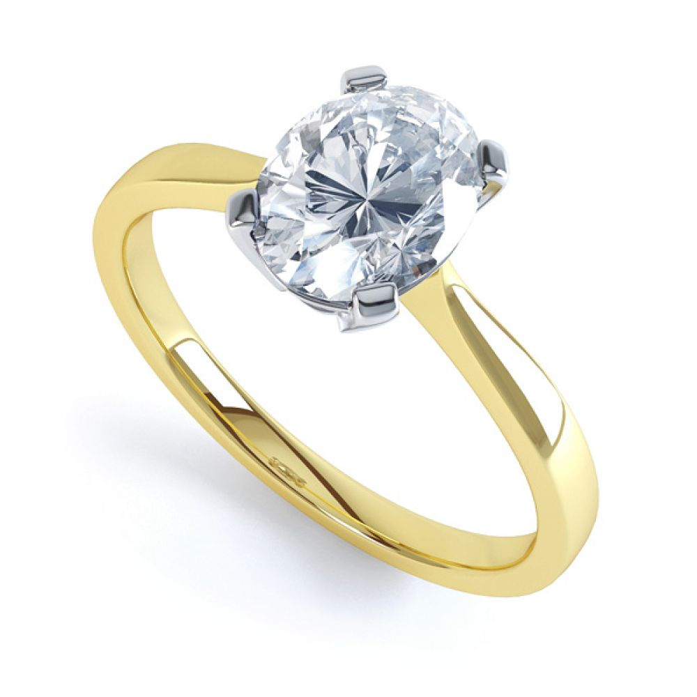 4 Claw Oval Solitaire Diamond Engagement Ring In Yellow Gold