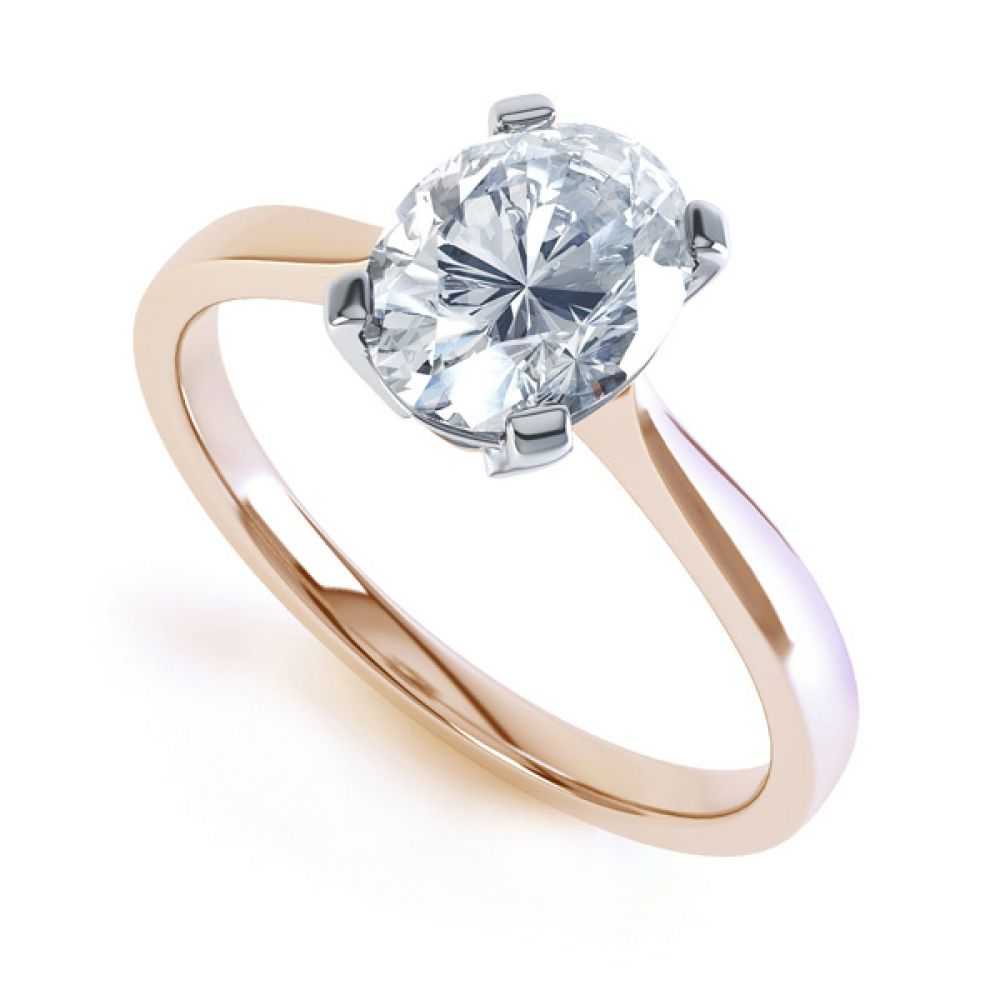 4 Claw Oval Solitaire Diamond Engagement Ring In Rose Gold