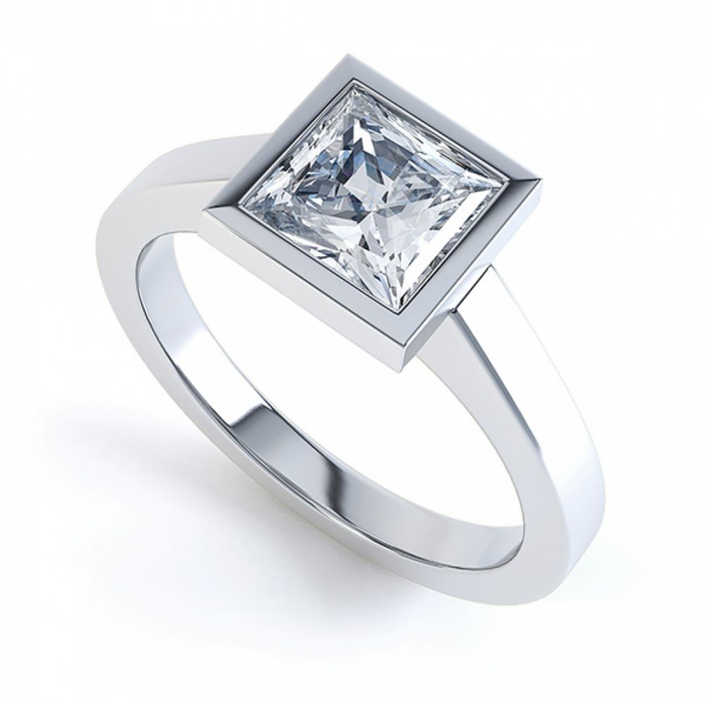 Ultramodern Princess Cut Solitaire Diamond Ring