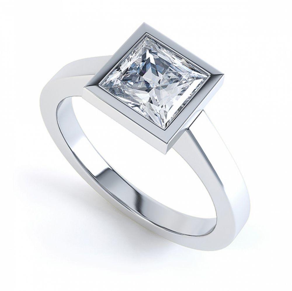 Ultramodern Princess Cut Solitaire Diamond Ring