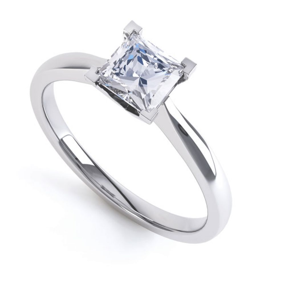 Princess Solitaire Engagement Ring with Open Setting