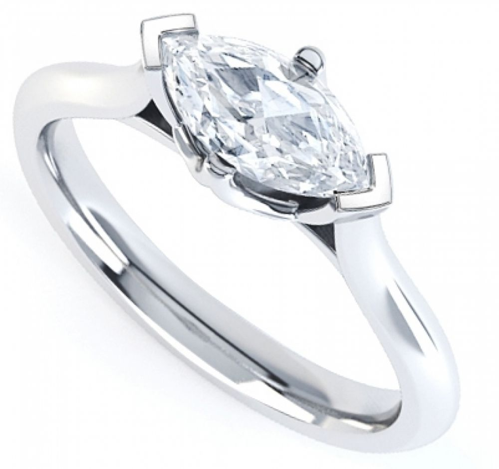 East West Set Four Claw Marquise Engagement Ring