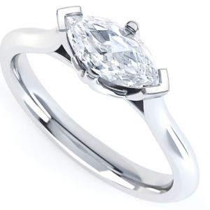East West Set Four Claw Marquise Engagement Ring Main Image