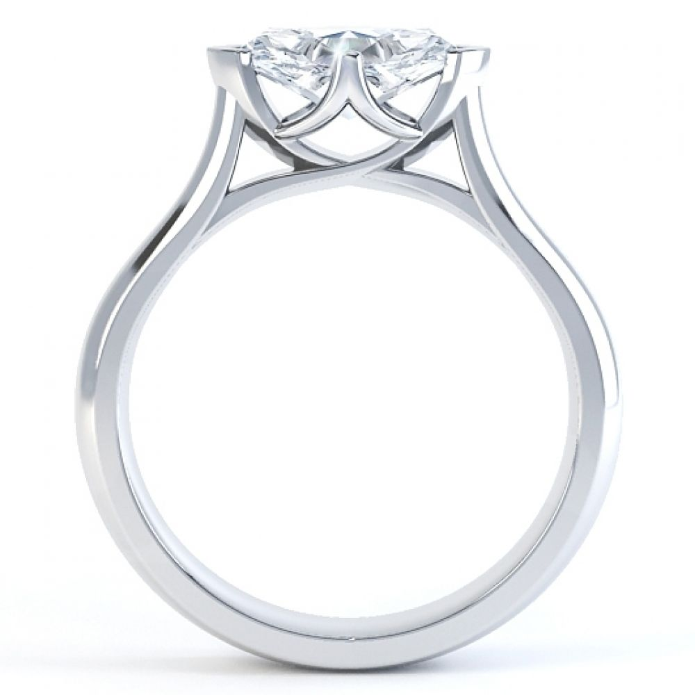 East West Set Four Claw Marquise Engagement Ring Side View