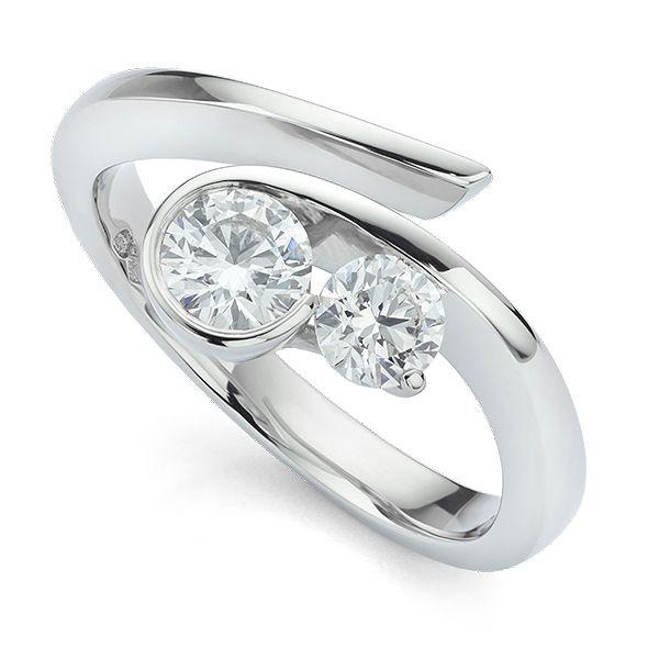 Unusual Flow 2 Stone Diamond Engagement Ring Main Image