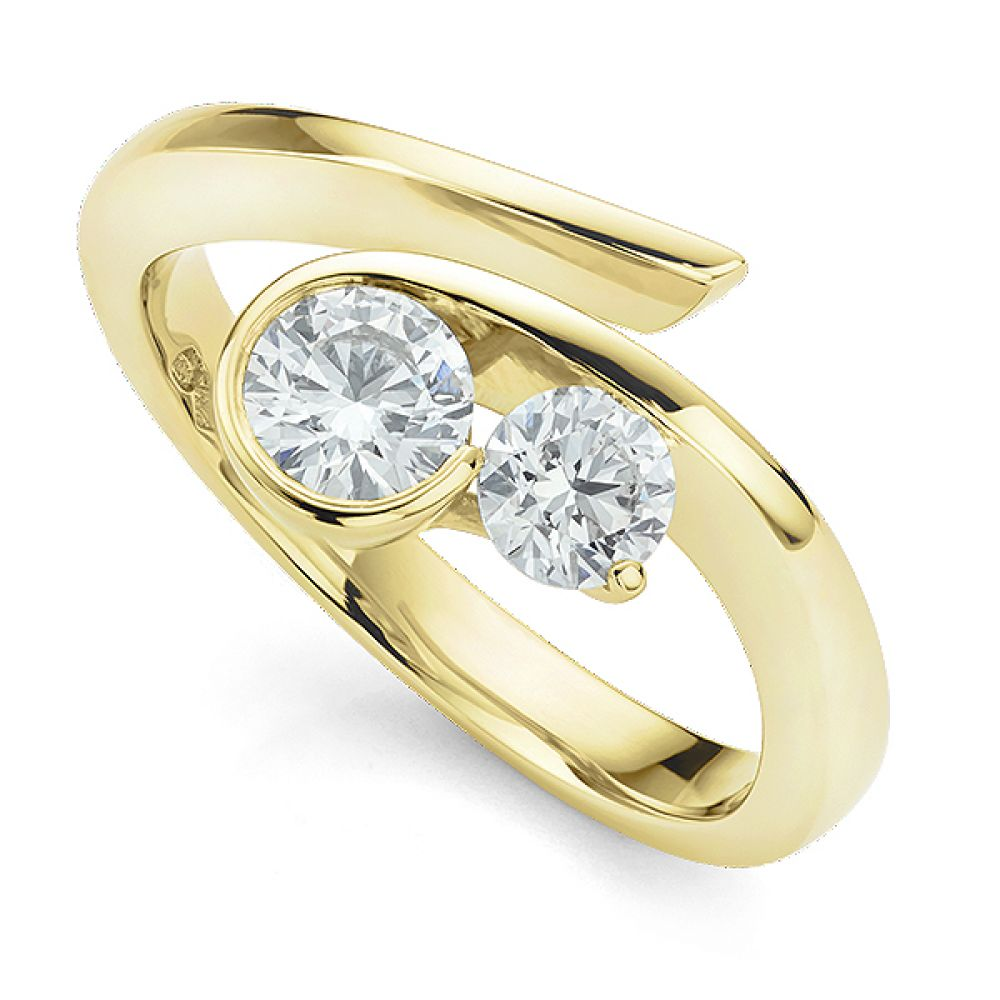 Unusual white gold 2 stone engagement ring in Yellow Gold