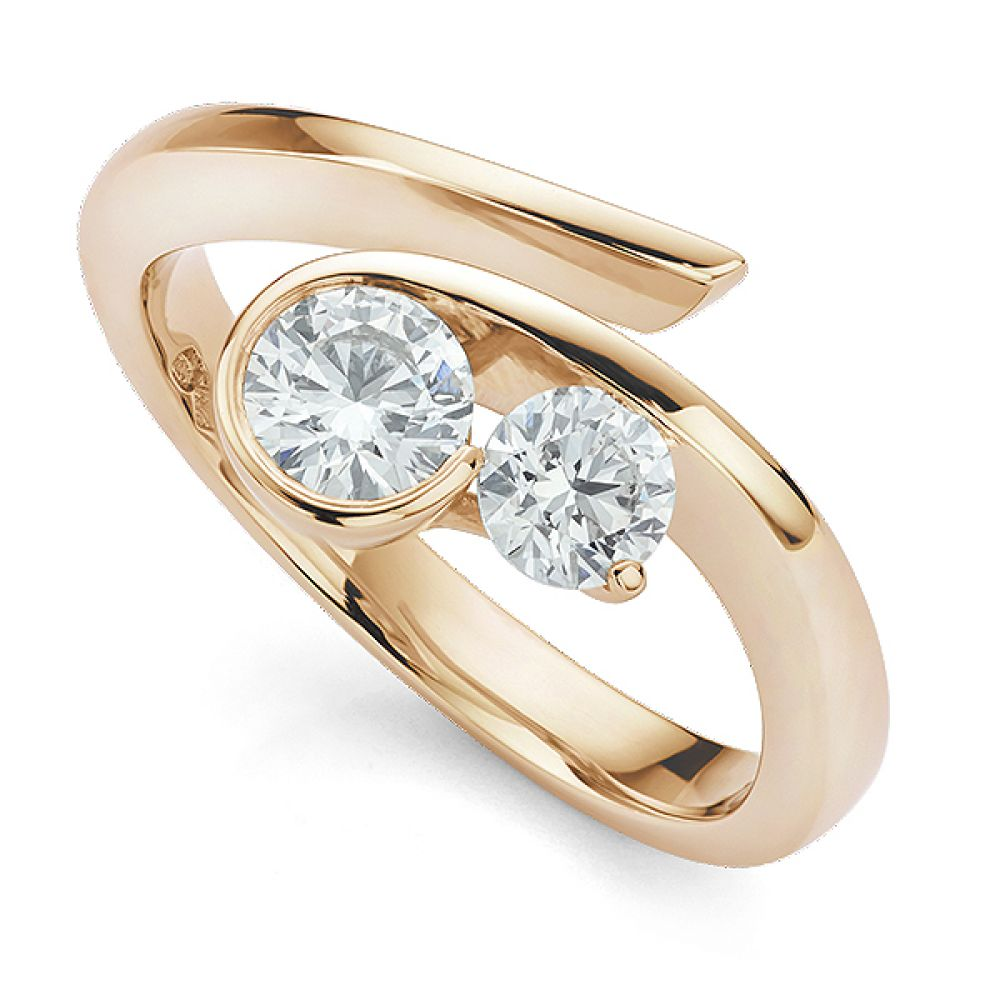 Unusual Flow 2 Stone Diamond Engagement Ring Rose Gold