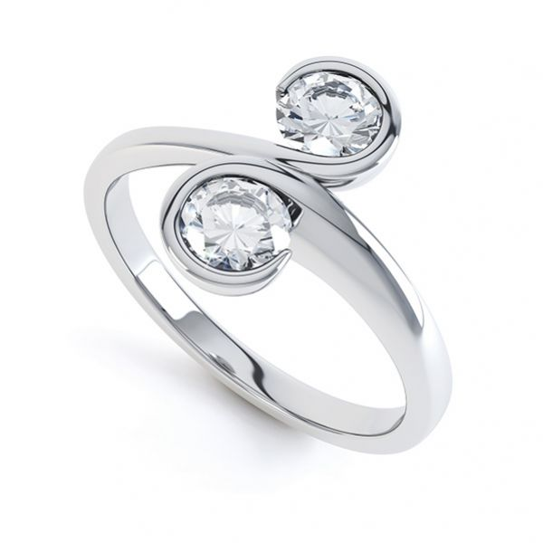 2 Stone Swirling Round Diamond Engagement Ring Main Image