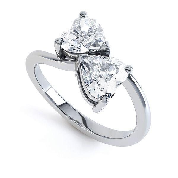 2 Stone Heart Shaped Diamond Engagement Ring Main Image
