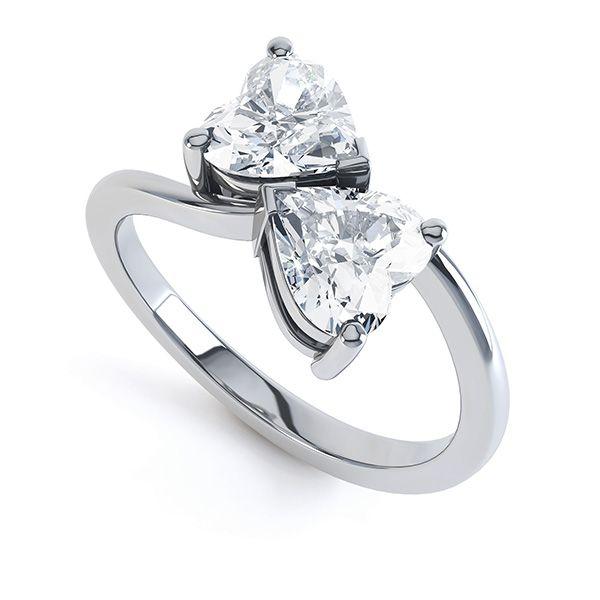 a9fbbe9e78f3 Romantic Double Heart-Shaped Diamond Engagement Ring