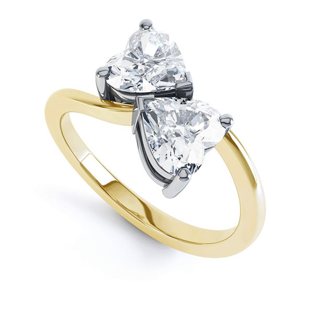 2 Stone Heart Shaped Diamond Engagement Ring Yellow Gold Perspective View
