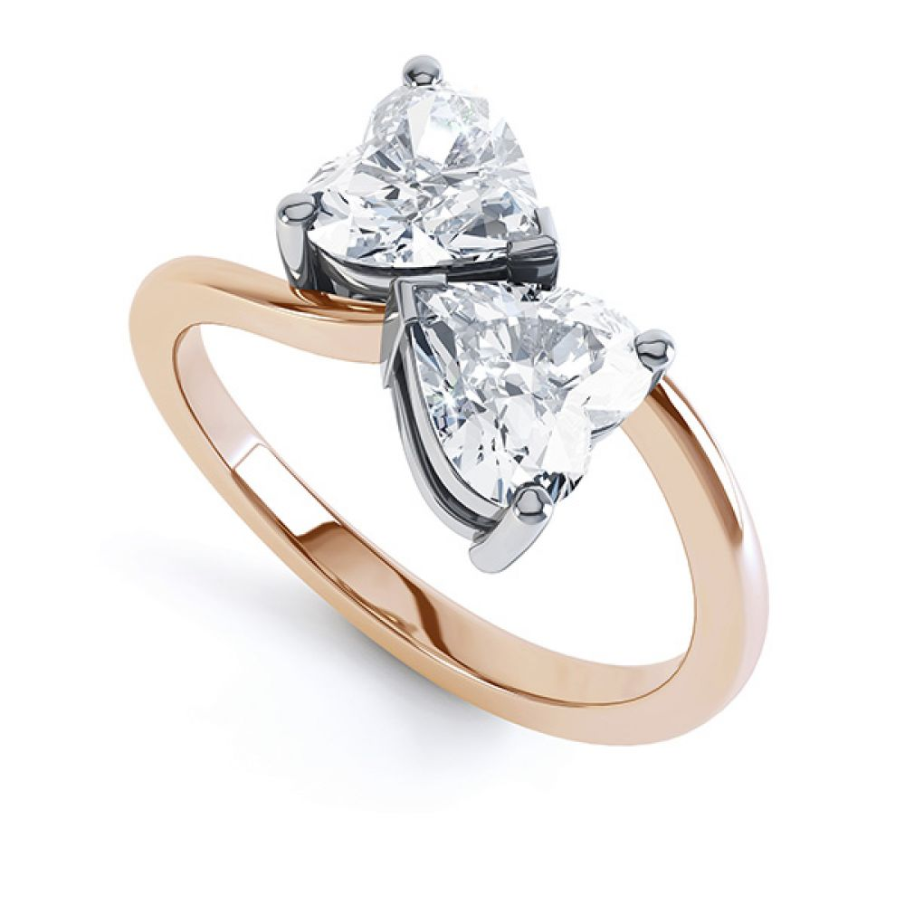 2 Stone Heart Shaped Diamond Engagement Ring Front View