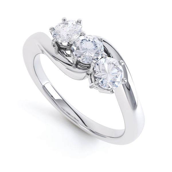 3 Stone Claw Set Diamond Engagement Ring Main Image