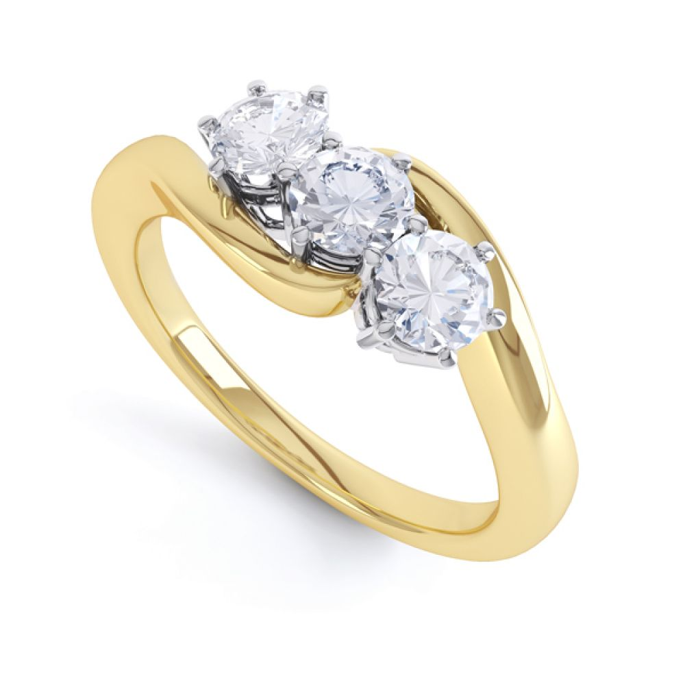 3 Stone Diamond Engagement Ring Claw Set In Yellow Gold