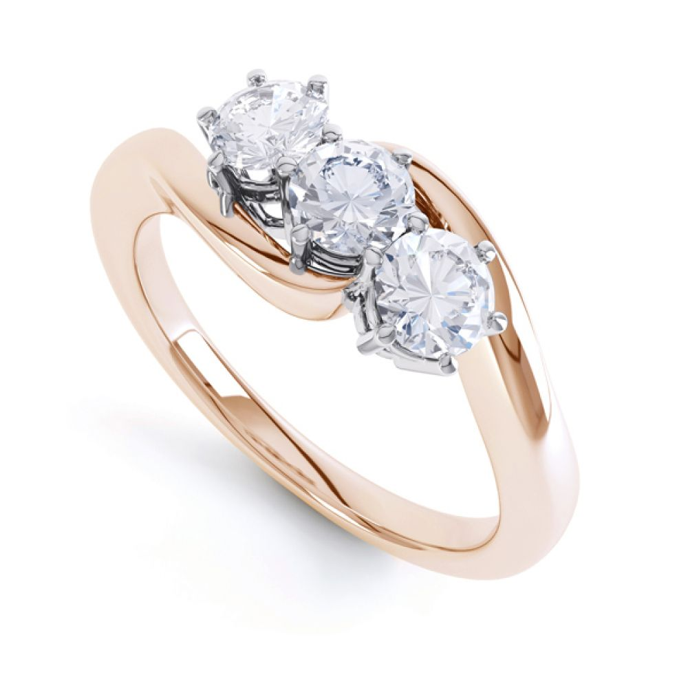 3 Stone Diamond Engagement Ring Claw Set Side View