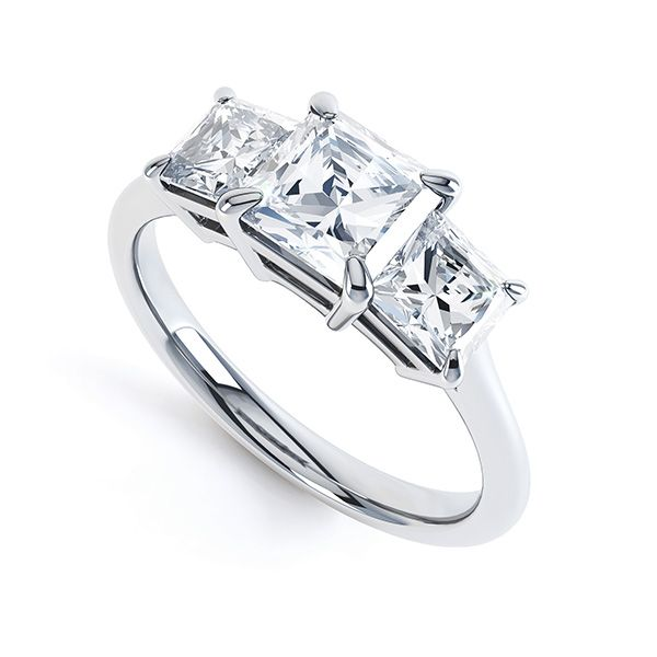 3 Stone Princess Diamond Engagement Ring Main Image