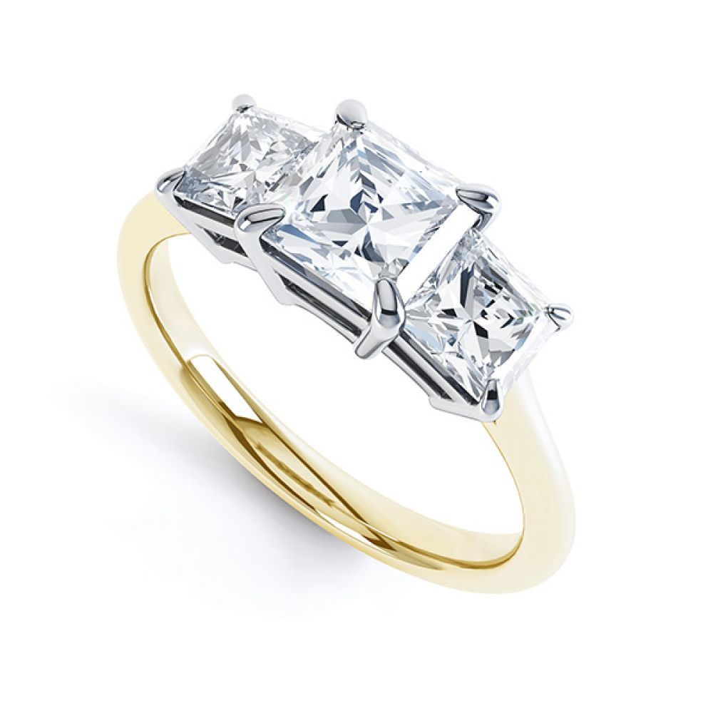 3 Stone Princess Cut Diamond Engagement Ring Side View
