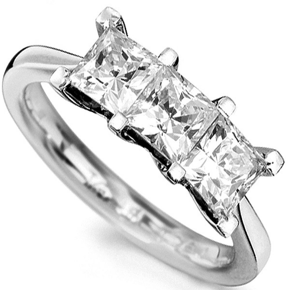 Straight 3 Stone Princess Cut Diamond Ring