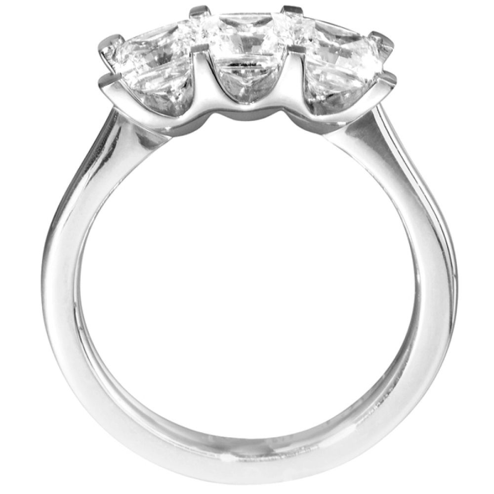 Straight 3 Stone Princess Cut Diamond Ring Side View
