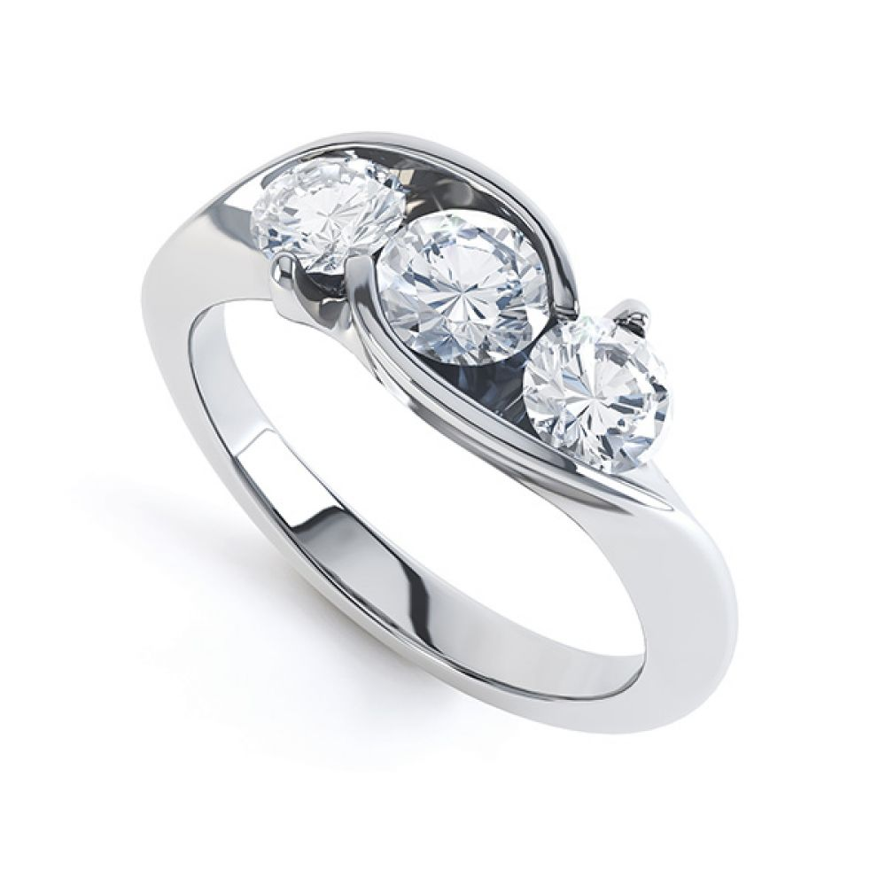 Modern Round 3 Stone Crossover Diamond Ring