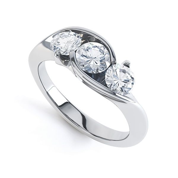 Modern Round 3 Stone Crossover Diamond Ring Main Image